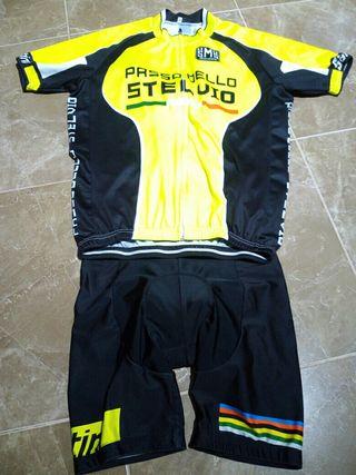 conjunto bicicleta, maillot culote santini