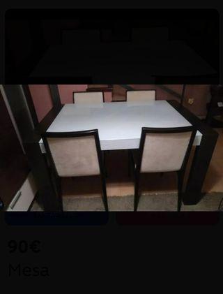mesa comedor 140x90 extensible + 4 sillas