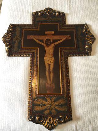 Crucifijo antiguo madera policromado