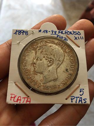 Moneda Plata 5 Pesetas 1898*(18-98) Sucia. Tierra
