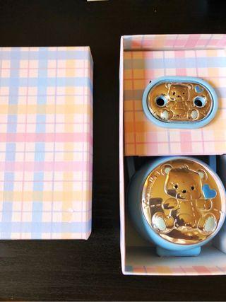 Chupetero y cajita plata oso