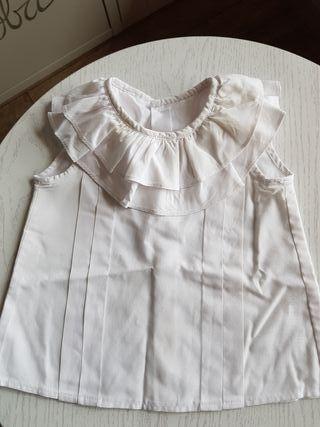 camisa doble cuello volante blanca handmade