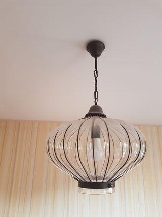 dos lámparas de cristal soplado rebajadas
