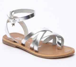 Sandalias piel plata