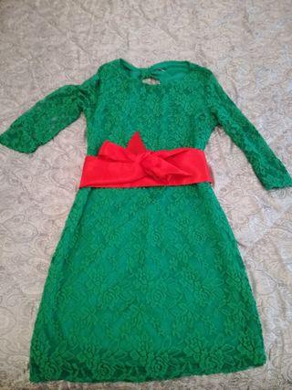 vestido mujer verde encaje