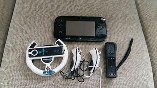 Consola Wiiu+ gamepad+ 3 mandos+ volante+ 4 juegos