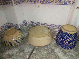 conjunto de 3 piezas de cerámica de fajalauza