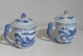2 Tisanières tasses motifs dragon bleus - Neuves