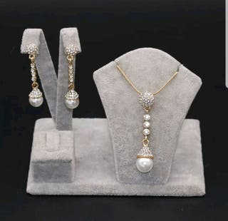 18ct gold plated with pearls jewellery set