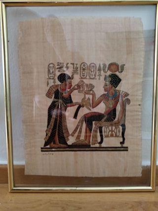 Papiro egipcio encuadrados en doble vidrio