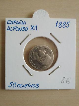 moneda 50 centimos Alfonso XII 1885
