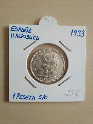 moneda españa segunda republica 1933