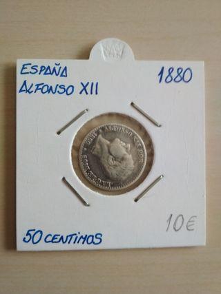 Moneda Alfonso XII 50 centimos 1880