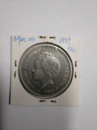 moneda 5 ptas Alfonso XIII 1893*93