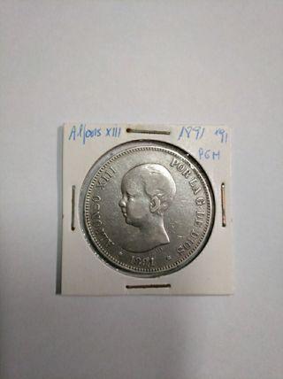 moneda 5 ptas Alfonso XIII 1891*91 PGM
