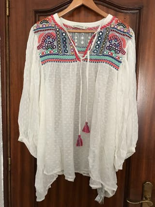 Blusa blanca hippie mery turie