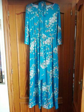 vestido turquesa con flores talla m NUEVO