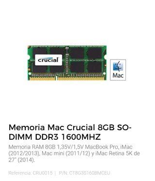 Memoria para mac 8gb 2 unidades de 8gb