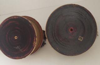 2 boites à Tika bois de teck peint ancienne