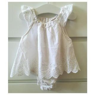 Vestido Zara blanco 0-6 meses 68 cm