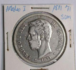 moneda 5 ptas Amadeo I 1871*71 SDM