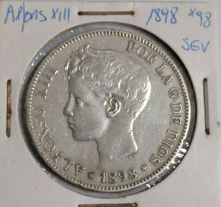 moneda 5 ptas Alfonso XIII 1898*98
