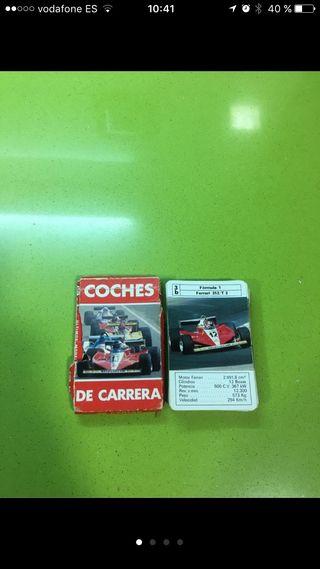 Baraja de cartas juego antiguo fournier de coches de carrera fórmula 1 años 80