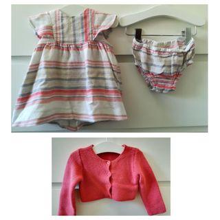 Vestido+Culetin+Chaqueta Zara 6/9 meses 74 cm