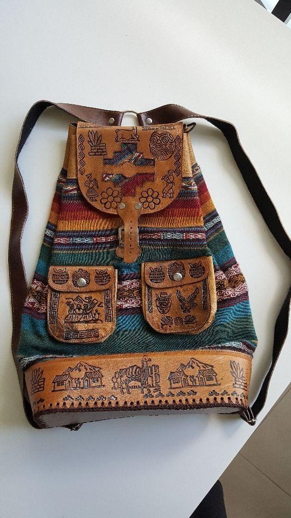 Mochila peruana de cuero y lana de alpaca de segunda mano por 40 ... 1a9b0e97089