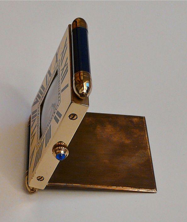 Pendulette réveil de voyage + Lapis Lazuli CARTIER