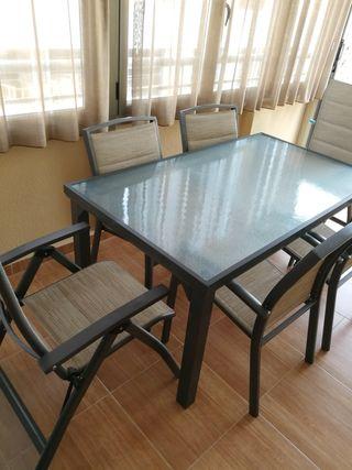 conjunto jardín mesa