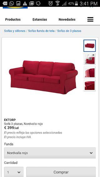 Sofa 3 plazas Ektorp Ikea con 2fundas Blanco&Rojo