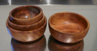 4 bols en bois d'olivier naturel emboitables