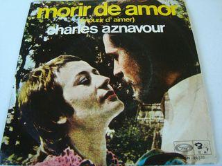 """CHARLES AZNAVOUR-.MORIR DE AMOR- SINGLE VINILO 7""""."""