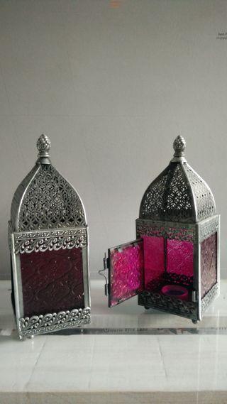 Farolillos árabes portavelas metálicos de cristal