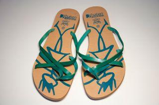 sandalias piel planas verde mar azul turquesa