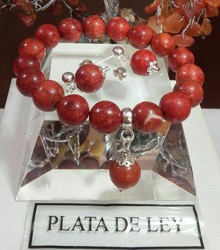 PENDIENTES Y PULSERA DE CORAL Y PLATA 925
