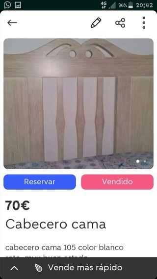 cabecero de madera ,nuevo ,de cama de 90,105
