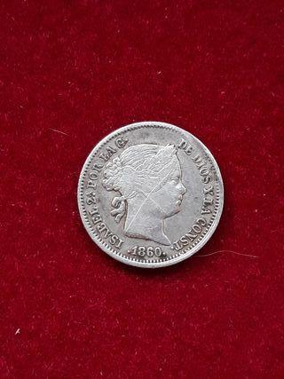 Moneda plata 1 real 1860