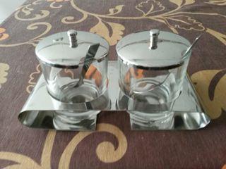 Azucarero doble cristal/metal