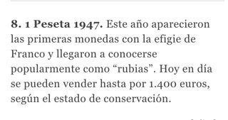 """Pesetas """"rubias"""" 1947 muy raras y valiosas"""