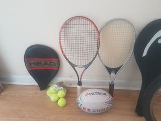 rackets,balls and rugby ballon