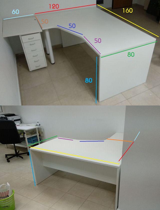 Mesa blanca oficina + cajoneras Ikea de segunda mano por 70 € en ...
