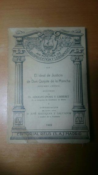 """LIBRO """"EL IDEAL DE JUSTICIA DE DON QUIJOTE"""" (1922)"""