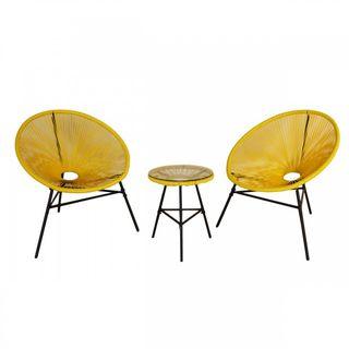 Conjunto de sillones y mesa amarillo