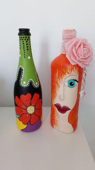 Botellas decorativas - Pintadas a mano