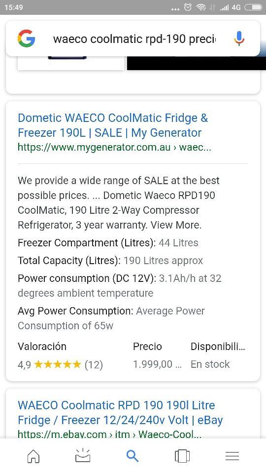 Nevera Dometic Waeco RPD190 l compresor 12V / 220V
