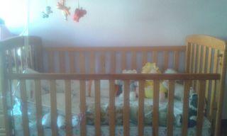 Cuna bebe de madera completa