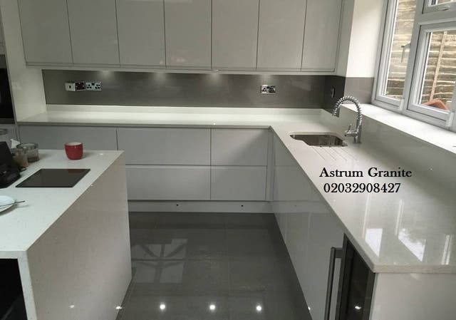 Cream Galaxy Quartz Kitchen Worktop At Your Cost