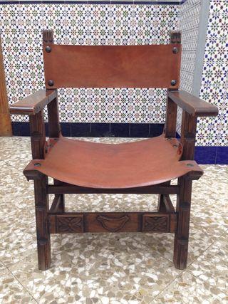 Silla/sillón cuero y madera